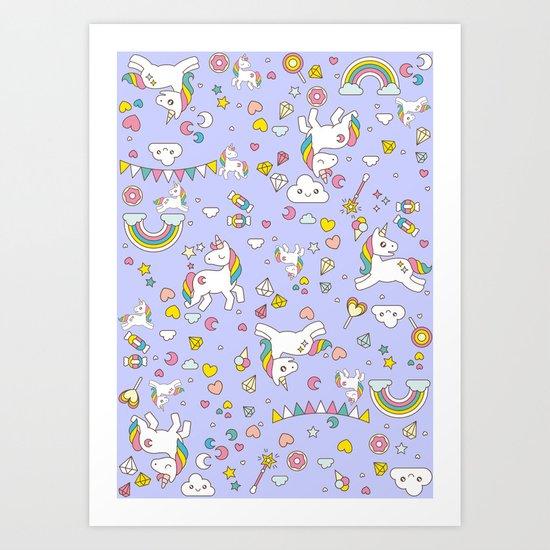Unicorn Lilac Pattern Art Print
