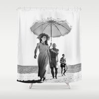 pablo picasso Shower Curtains featuring PABLO PICASSO AT BEACH by VAGABOND