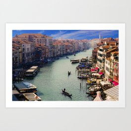 Venice, Canale Grande, Gondolier, City, Italy, Channel. Beautiful city photo. Urban art. Vintage style. Illustration. Art Print