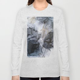 Calm but Dramatic Light Monochromatic Black & Grey Abstract Long Sleeve T-shirt