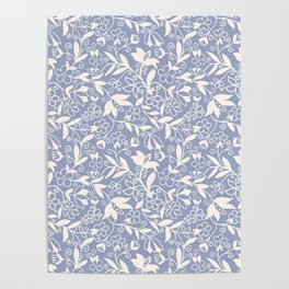 Soft Blue and White Floral Pattern  Poster