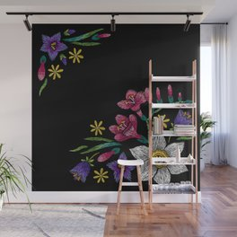 Embroidered Flowers on Black Corner 02 Wall Mural