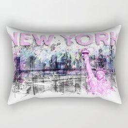 Modern Art NEW YORK CITY Skyline Splashes | pink Rectangular Pillow