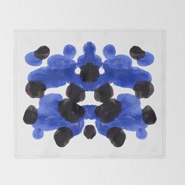 Periwinkle Purple Blue And Black Ink Blot Diagram Throw Blanket