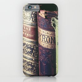 Vintage low light photography of books iPhone Case