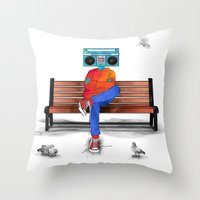 radiohead Throw Pillows featuring Radiohead by Amarelle07