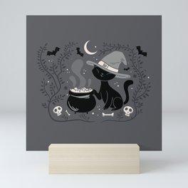 Cat Witch - Mid Century Vintage Grey Mini Art Print