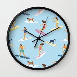 surfers watercolor pattern Wall Clock