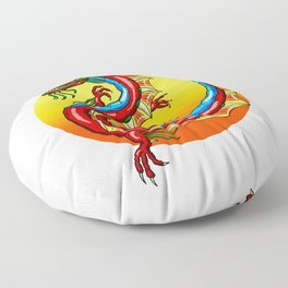 Chinese Dragon In The Sun Floor Pillow