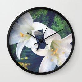 White Lilies Wall Clock