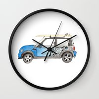 mini cooper Wall Clocks featuring Magnificent Mini Cooper by Fuzzy Art