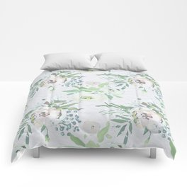 Blush pink white green watercolor modern floral berries pattern Comforters