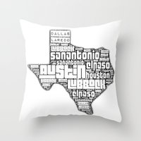 texas Throw Pillows featuring Texas by Artsy B