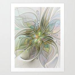 Floral Fantasy, Abstract Fractal Art Art Print