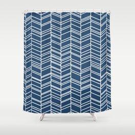 Navy Herringbone Shower Curtain