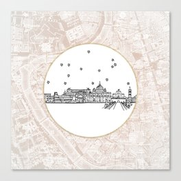 Roma (Rome), Italy, Europe City Skyline Illustration Drawing Canvas Print