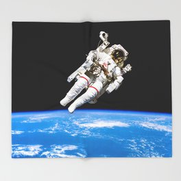 Astronaut Bruce McCandless Floating Free Throw Blanket