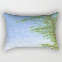 Across the fields to Angliers church Rectangular Pillow