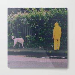 Dog in the rain Metal Print