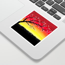 Drawing Sunset and a Blossom Tree Sticker