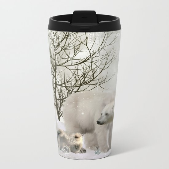 Awesome polar bear Metal Travel Mug