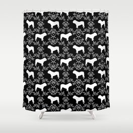 English Bulldog silhouette florals black and white minimal dog breed pattern print gifts bulldogs Shower Curtain