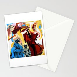 Expressive Cello People Painting Stationery Cards