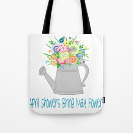 Watering Can with Whimsical Flowers Tote Bag