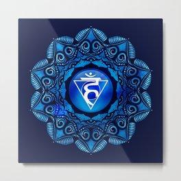 Throat Chakra Mandala  Metal Print