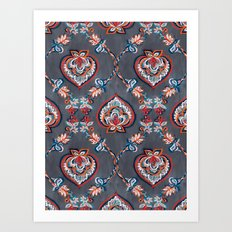 Floral Ogees in Red & Blue on Grey Art Print