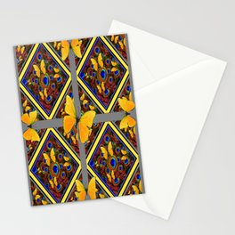 Grey-Yellow Butterfly Patterns Peacock Eyes  Design Stationery Cards