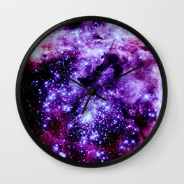 galaXy. Stars Purple Pink Nebula Wall Clock