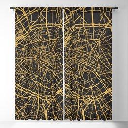 PARIS FRANCE GOLD ON BLACK CITY MAP Blackout Curtain