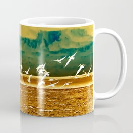 A Flock of White Pelicans Watercolor Coffee Mug