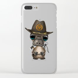Baby Platypus Zombie Hunter Clear iPhone Case