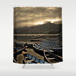 Boats on Phewa Lake, Pokhara, Nepal Shower Curtain