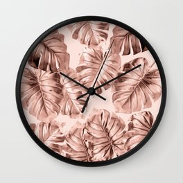 Rose Gold Monstera Wall Clock