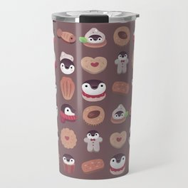 Cookie & cream & penguin - brown  pattern Travel Mug