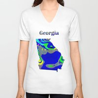 georgia V-neck T-shirts featuring Georgia Map by Roger Wedegis