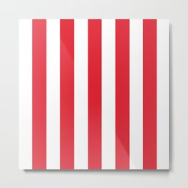 Rose madder red - solid color - white vertical lines pattern Metal Print