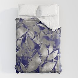 Grunge Art Silver Floral Abstract G169 Comforters