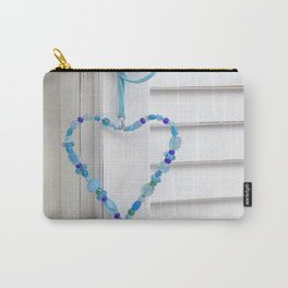 Blue Heart of beads Carry-All Pouch