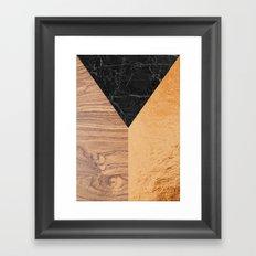 Copper Marble Wood Framed Art Print