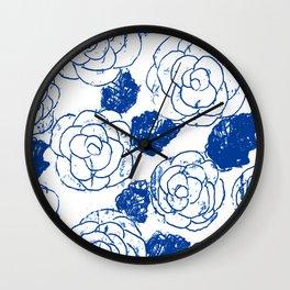 Blue blockprint roses Wall Clock