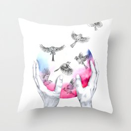 wild and free - pink Throw Pillow
