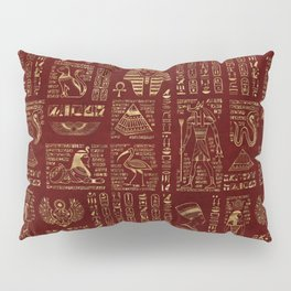 Egyptian hieroglyphs and symbols gold on red leather Pillow Sham