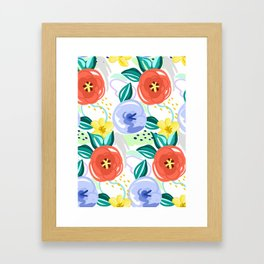 Flowers red pattern Framed Art Print