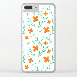 Flower Pattern on White Clear iPhone Case