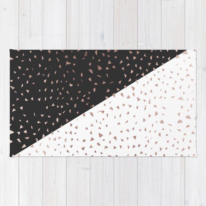 Speckled Rose Gold Flakes On Black White Geometric Rug
