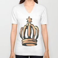 crown V-neck T-shirts featuring Crown by Kritika Kripakaran